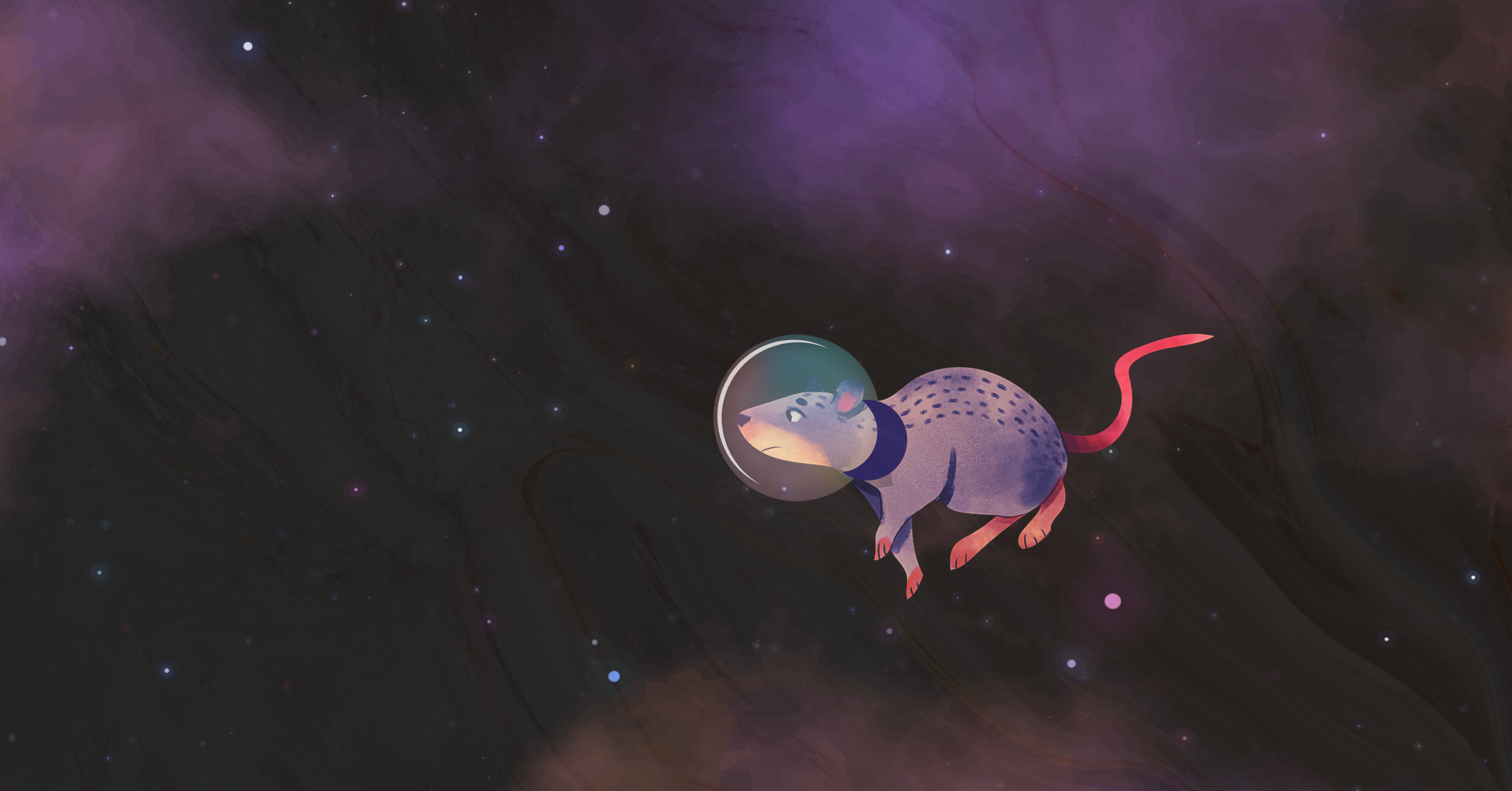 Cartoon image of a mouse in outer space
