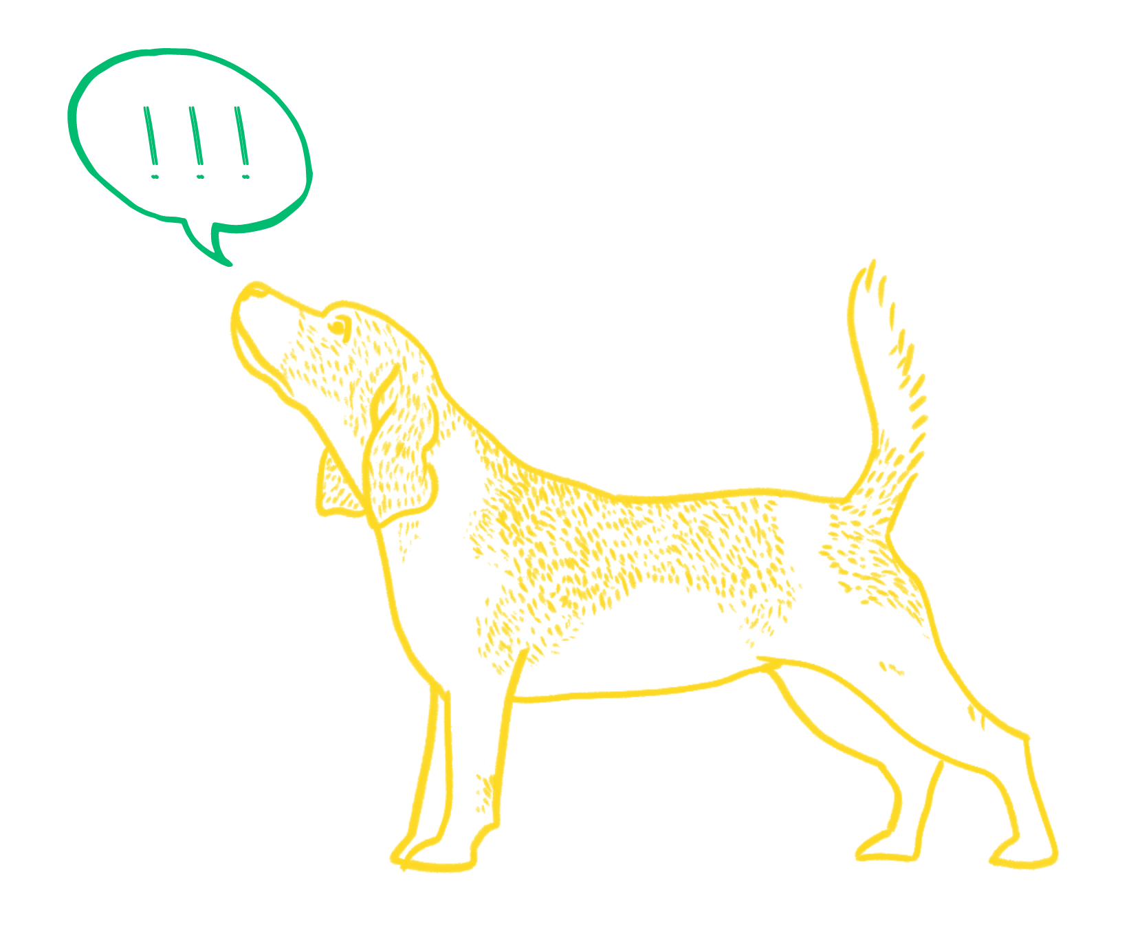 A sketch of a beagle with a speech bubble filled with exclamation points above his head