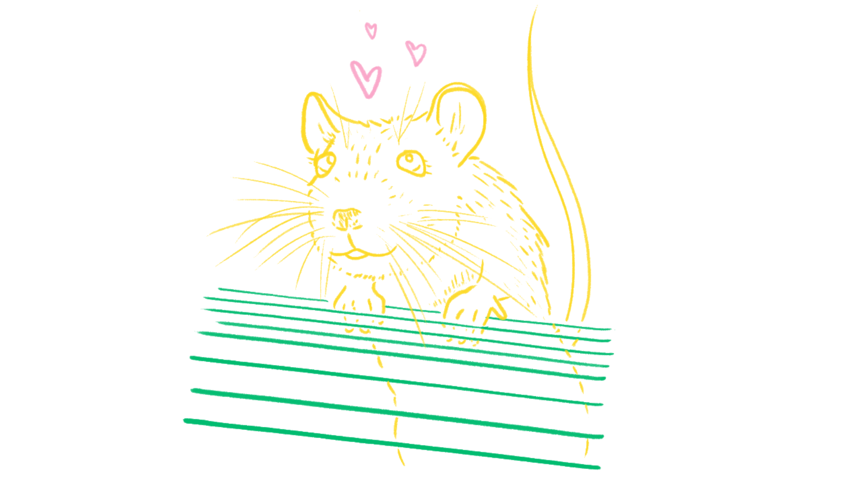 A loose sketch of a mouse exiting a cage, hearts over his head