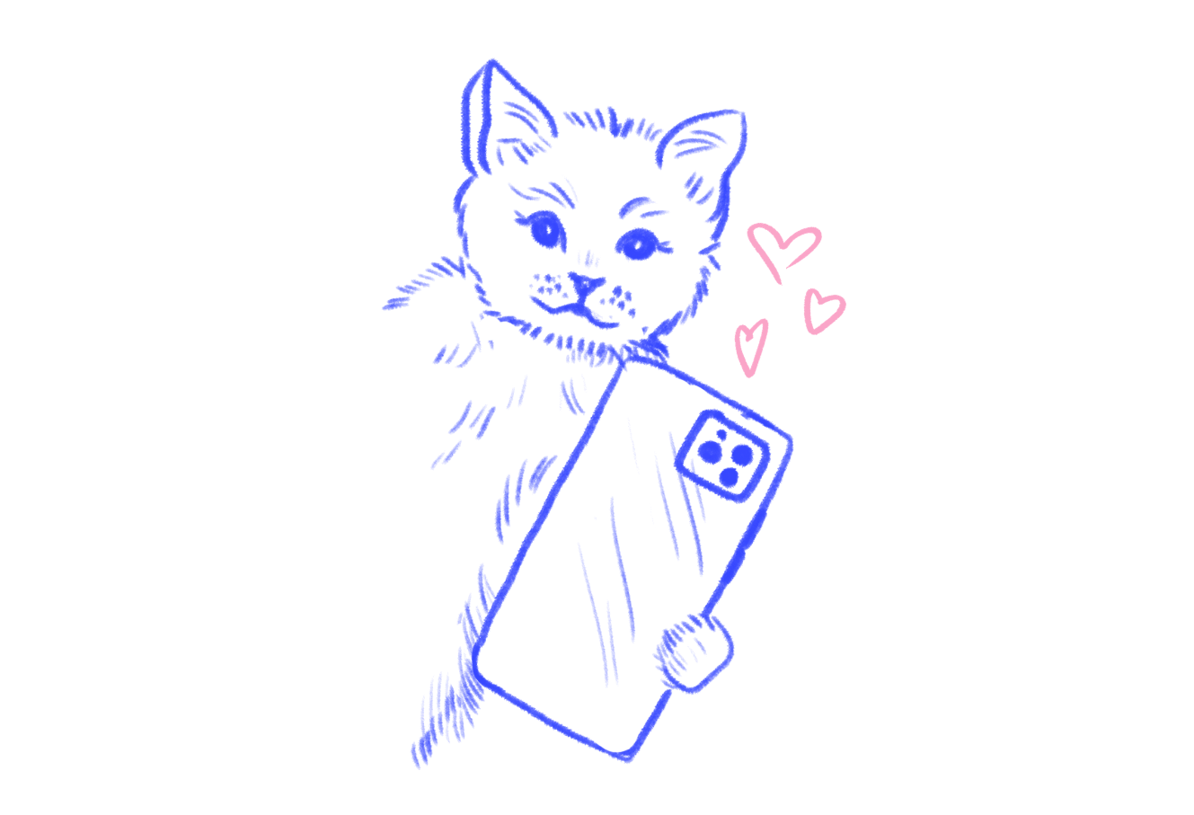 A sketch of a cat holding a phone, hearts blooming overhead