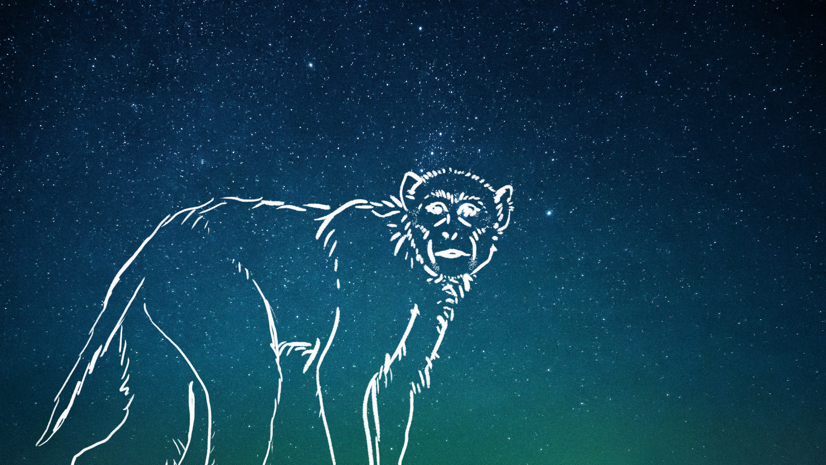 A loose sketch of a monkey over a blue-green starry sky